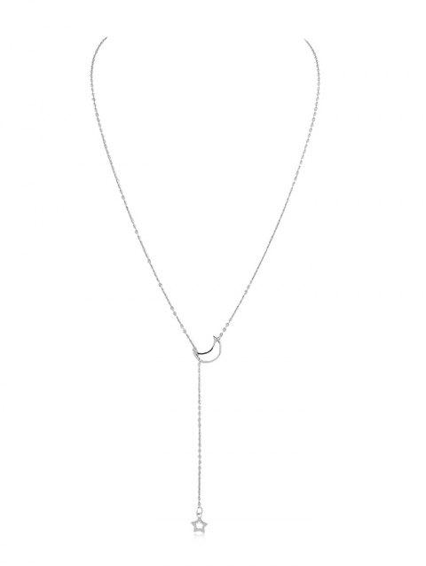 Star Moon Decoration Chain Necklace - SILVER