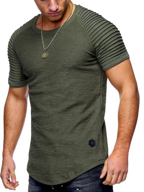 Pleated Sleeve Curved Hem Patch T-shirt - CAMOUFLAGE GREEN M