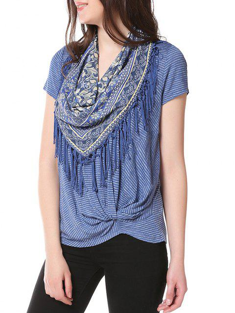 Knotted on Hemline T-shirt with Matching Scarf - ROYAL BLUE XL