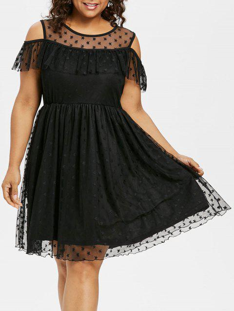 d482f965a25 17% OFF  2019 Ruffle Insert Plus Size Fit and Flare Dress In BLACK ...