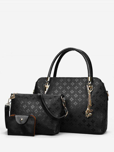 Embossed PU Leather Casual 3 Pieces Tote Bag Set - BLACK