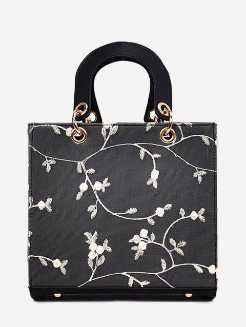 Floral Embroidery Chic Lace Handbag with Strap - BLACK