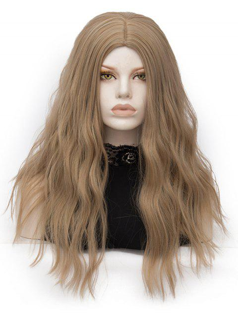 Long Center Parting Natural Wavy Party Heat Resistant Synthetic Wig - LIGHT BROWN