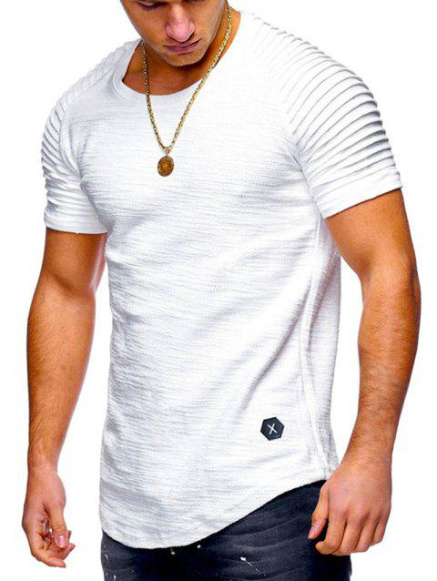 84da259b 69% OFF] 2019 Pleated Sleeve Curved Hem Patch T-shirt In WHITE ...