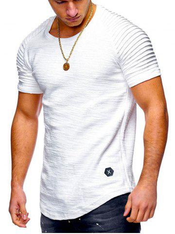 d951cd16ea35 Pleated Sleeve Curved Hem Patch T-shirt