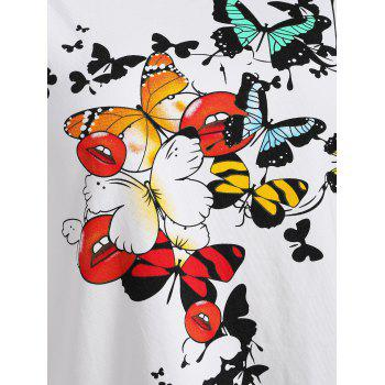 Ripped Cut Out Butterfly Print Graphic T-shirt - WHITE M