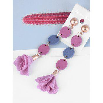 Pair of Floral Cloth Wooden Round Drop Earrings - MAUVE