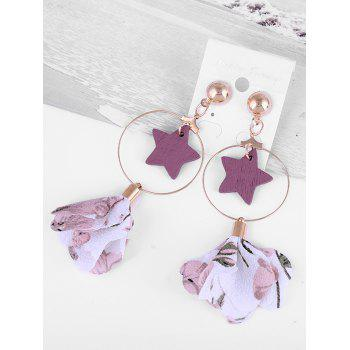 Wooden Star Circle Floral Drop Earrings - LIGHT PINK