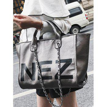 Large Capacity Letter Print Tote Bag for Shopping - PLATINUM