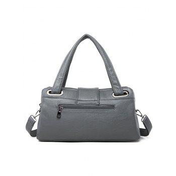 Chic Faux Leather Minimalist Tote Bag with Strap - GRAY