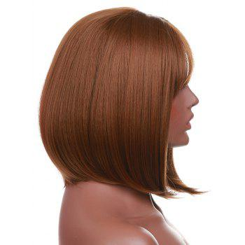Short Neat Bang Straight Bob Party Synthetic Wig - BROWN