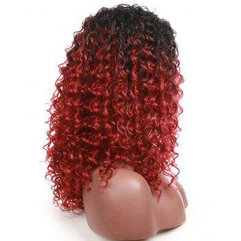 Medium Inclined Bang Gradient Kinky Curly Party Synthetic Wig - RED WINE
