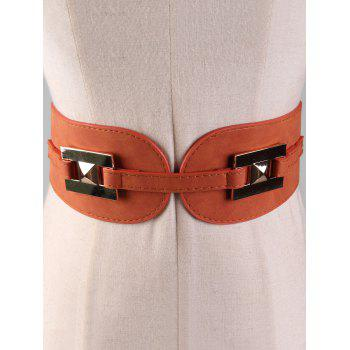 Metal Buckle Suede Wide Waist Belt - CARAMEL