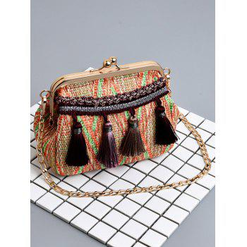 Shell Shaped Tassels Metal Chain Crossbody Bag - LIGHT BROWN