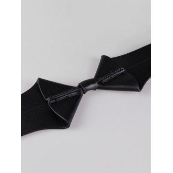 Bowknot Faux Leather Wide Elastic Stretch Waist Belt - BLACK