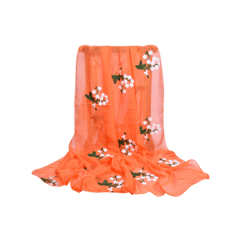 Soft Floral Embroidery Silky Shawl Scarf - PUMPKIN ORANGE