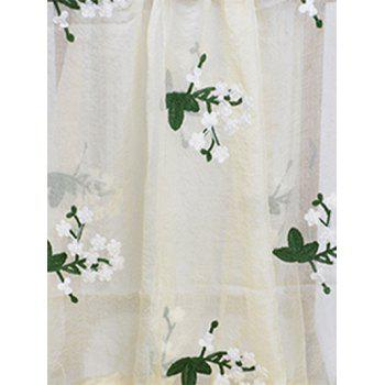 Soft Floral Embroidery Silky Shawl Scarf - BEIGE