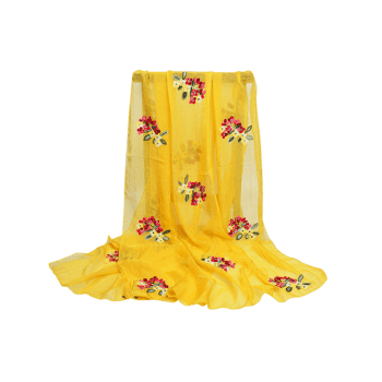 Vintage Floral Pattern Party Event Travel Scarf - YELLOW
