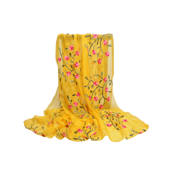 Vintage Flower Embroidery Silky Long Scarf - YELLOW