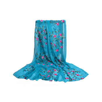 Vintage Flower Embroidery Silky Long Scarf - BLUE IVY