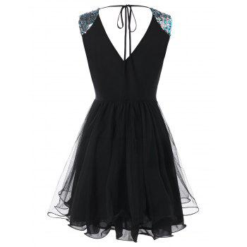 Sequined Mini Ball Gown Dress - BLACK M