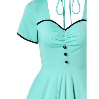 Retro Ruched Cut Out Pin Up Dress - MINT GREEN XL