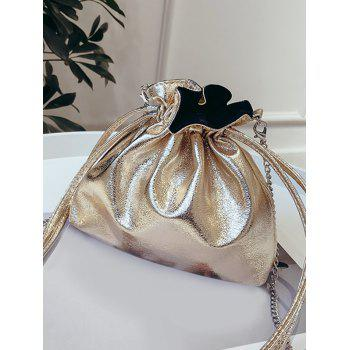 Metal Chain Solid Daily String Sling Bag - GOLD