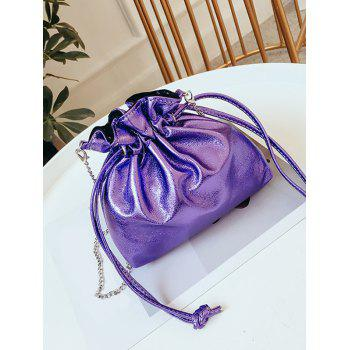 Metal Chain Solid Daily String Sling Bag - LOVELY PURPLE