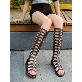 Multi Straps Rivets Flat Heel Gladiator Sandals - BLACK 37