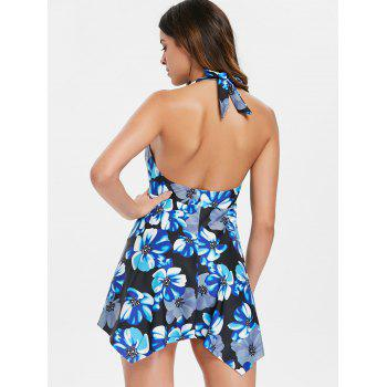 One Piece Backless Flower Swimwear - multicolor XL