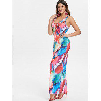 Colorful Print Maxi Tank Dress - multicolor S