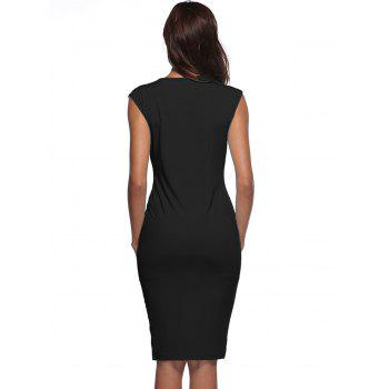 Front Slit Color Block Bodycon Dress - BLACK L
