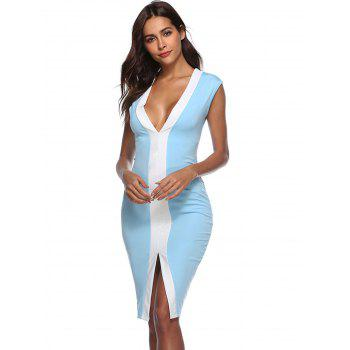 Front Slit Color Block Bodycon Dress - BLUE S