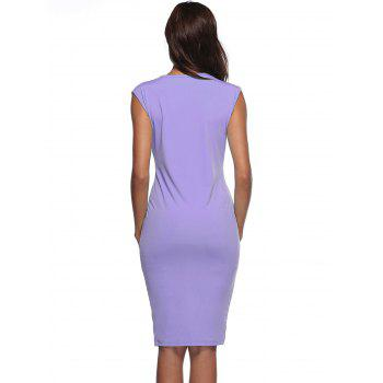 Front Slit Color Block Bodycon Dress - PURPLE S