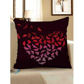 Butterfly Heart Print Linen Sofa Pillowcase - multicolor W18 INCH * L18 INCH