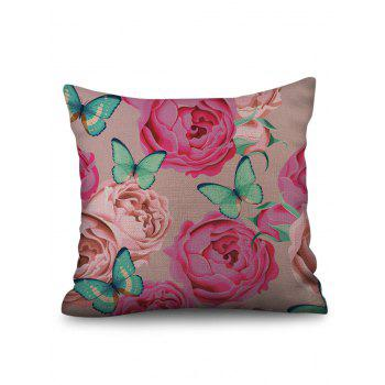 Butterfly and Flowers Print Linen Sofa Pillowcase - multicolor W18 INCH * L18 INCH