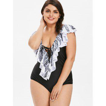 Plus Size Feather Print Ruffle One Piece Swimsuit - BLACK 3X