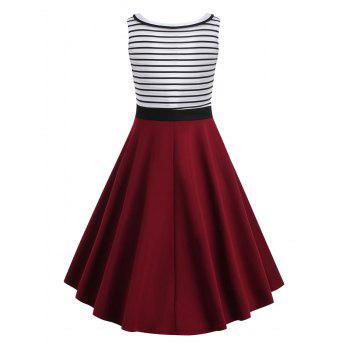 Self Tie Striped Panel Fit and Flare Dress - multicolor S