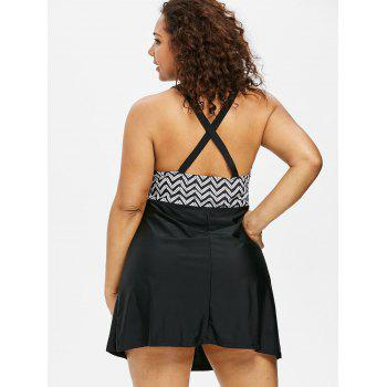 Plus Size Ethnic One Piece Swimsuit - BLACK 2X