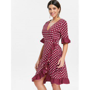 Ruffle Dotted Midi Wrap Dress - RED WINE L
