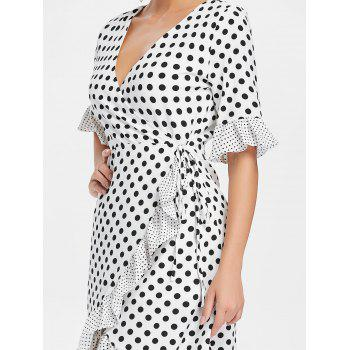 Ruffle Dotted Midi Wrap Dress - WHITE L