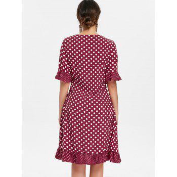 Ruffle Dotted Midi Wrap Dress - RED WINE M