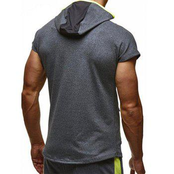 Color Block Patchwork Zipper Hooded Casual T-shirt - DARK GRAY S