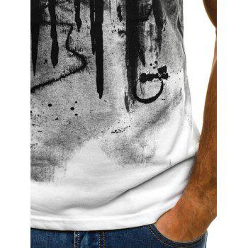 Color Block Ink Printed Short Sleeve T-shirt - WHITE L