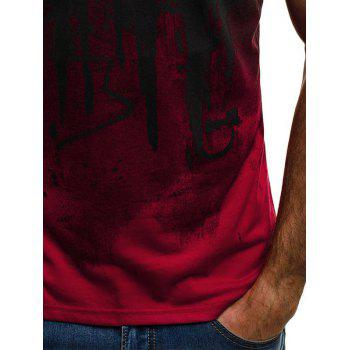 Color Block Ink Printed Short Sleeve T-shirt - RED L