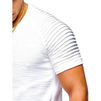 Pleated Sleeve Curved Hem Patch T-shirt - WHITE L