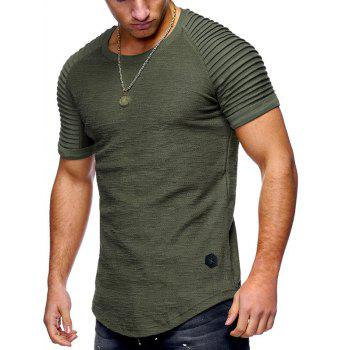 Pleated Sleeve Curved Hem Patch T-shirt