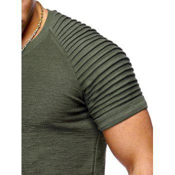 Pleated Sleeve Curved Hem Patch T-shirt - CAMOUFLAGE GREEN L