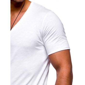 Raw Edge Solid Color Embroidered Patch T-shirt - WHITE L