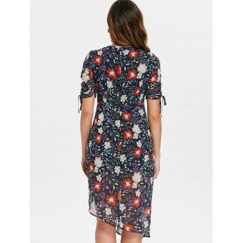 V-neck Print Ruched Drawstring Dress - multicolor XL